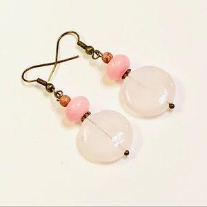 Rose Quartz & Pink Jadeite Earrings